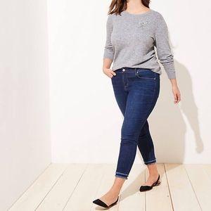 NWT LOFT Plus Double Frayed Skinny Jeans Dark 26